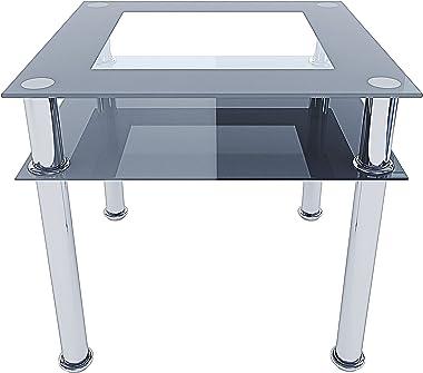 Tavolo Quadrato Da Pranzo In Vetro Temperato Con Ripiano E Gambe in Metallo Per Soggiorno Salone Salotto Sala Pranzo Tavolino