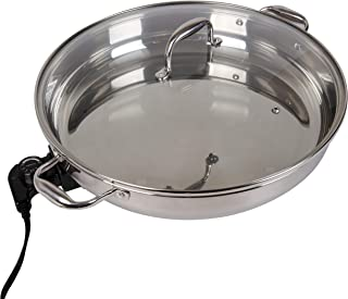 Electric Skillet By Cucina Pro - 18/10 Stainless Steel with Tempered Glass Lid, 16