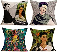 JLHua 4 pcs Frida Kahlo Self-Portrait Cotton Linen Pillow Case Cover,18,Pattern 14