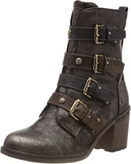 Multi Buckle Heeled Ankle Womens Ankle Boots
