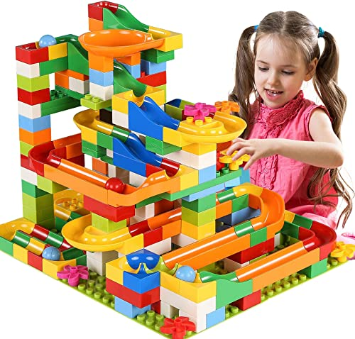 discount TEMI 248 PCS Marble Run Deluxe Sets for Kids, Marble Race Track for 3+ Year online Old Boys and Girls, Marble Roller Coaster new arrival Building Block Construction Toys, Puzzle Maze Building Set with 8 Marbles Balls online sale