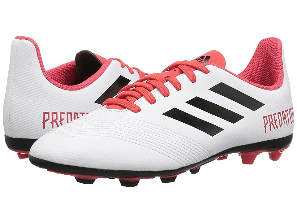 adidas Kids Predator 18.4 FG (Little Kid/Big Kid) (White/Black/Real Coral) Kids Shoes