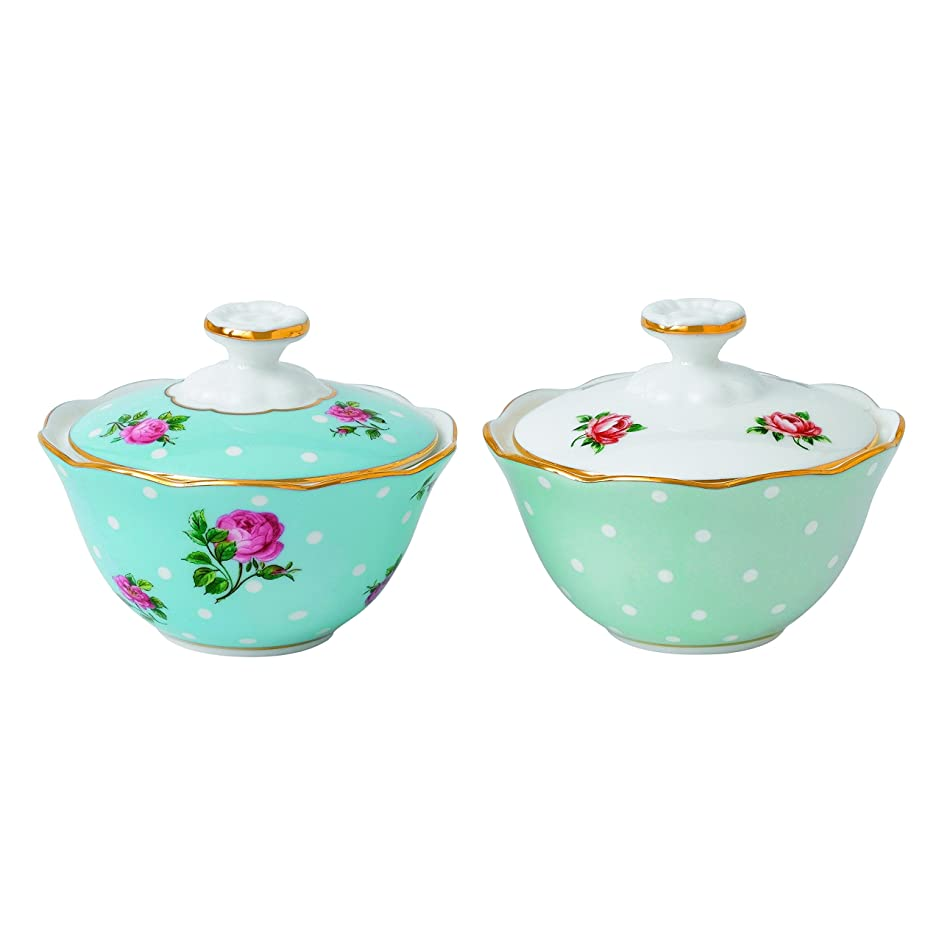 Royal Albert New Country Roses Tea Party Mixed Patterns Condiment Pots (Set of 2), 2.9 oz, Multicolor