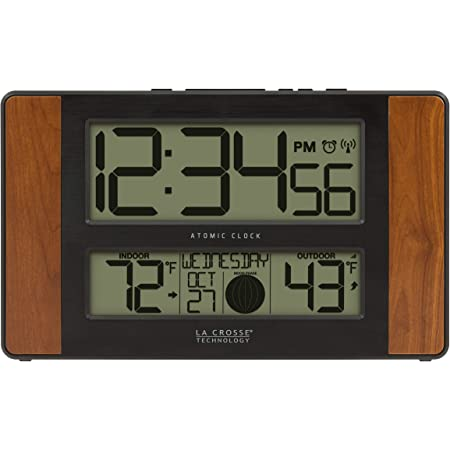 """La Crosse Technology 513-1417CH-INT Atomic Digital Clock with Temperature and Moon Phase, 11.10"""" L x 1.14"""" W x 6.61"""" H, Cherry"""