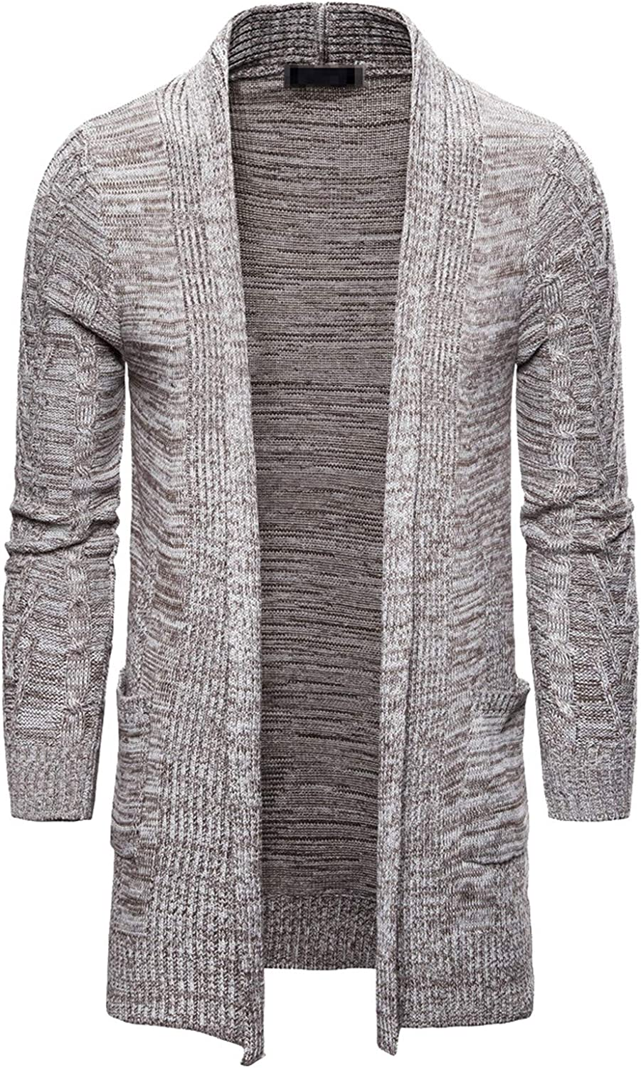 Men's Wool Cardigan Solid Color Autumn Winter Thick Slim Fit Long Jacket Cotton Knitted Sweaters