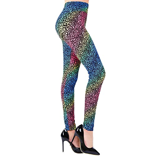 87c348fb1 SATINIOR Soft Printed Leggings 80s Style Neon Leggings Pants with Assorted  Designs for Women and Girls