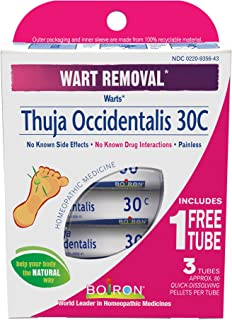 Boiron Thuja Occidentalis 30C Wart Removal Medicine, 3 Count (80 Pellets each tube). Homeopathic, Quick-dissolving Pellets for Painless Wart Removal with Natural Active Ingredient
