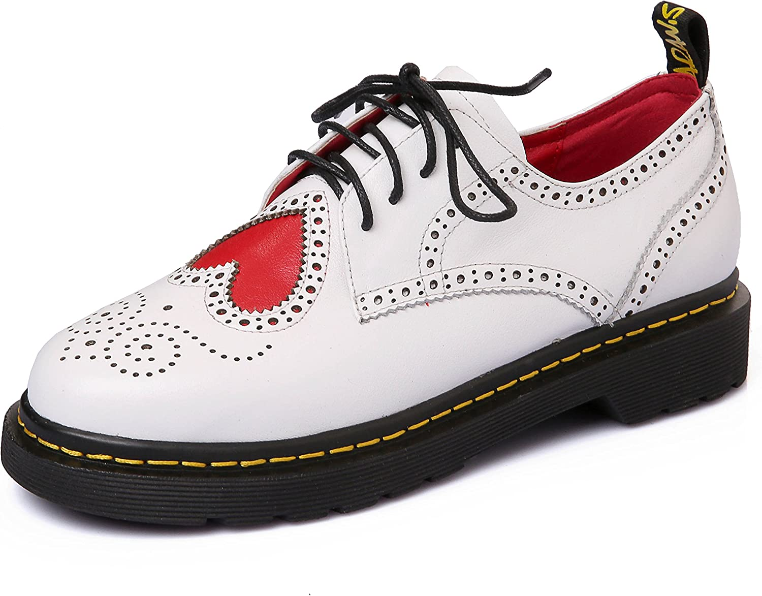 Rongzhi Womens Uniform Dress shoes Lace Up Hearts Anime Cosplay Oxford Low Heels Round Toe