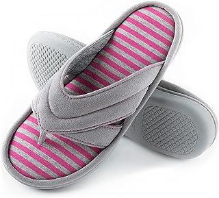 شباشب ZIZOR حريمي من الإسفنج الذي يستعيد شكله مع جزء علوي من الجلد السويدي، أحذية نسائية سهلة الارتداء في المنزل للاستخدام...