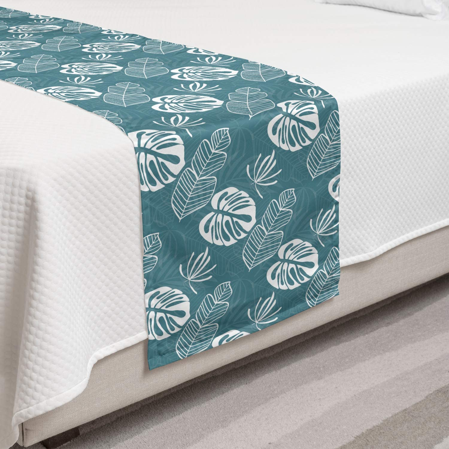 Lunarable Tropical Bed Runner Banana and Palm Dealing full price reduction Monstera Cash special price P Leaves