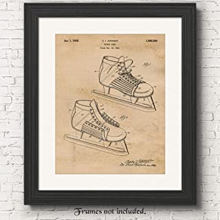 Original Hockey Skates Patent Poster Prints, Set of 1 (11x14) Unframed Photo, Great Wall Art Decor Gifts Under 15 for Home, Office, Studio, Man Cave, Gym, Student, Teacher, Coach, NHL Sports Fan