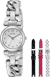 GUESS Women's U0712L1 Feminine Silver-Tone Watch Set with Metal Bracelet and 3 Interchangeable Leather Straps Inside a Bonus Travel Case