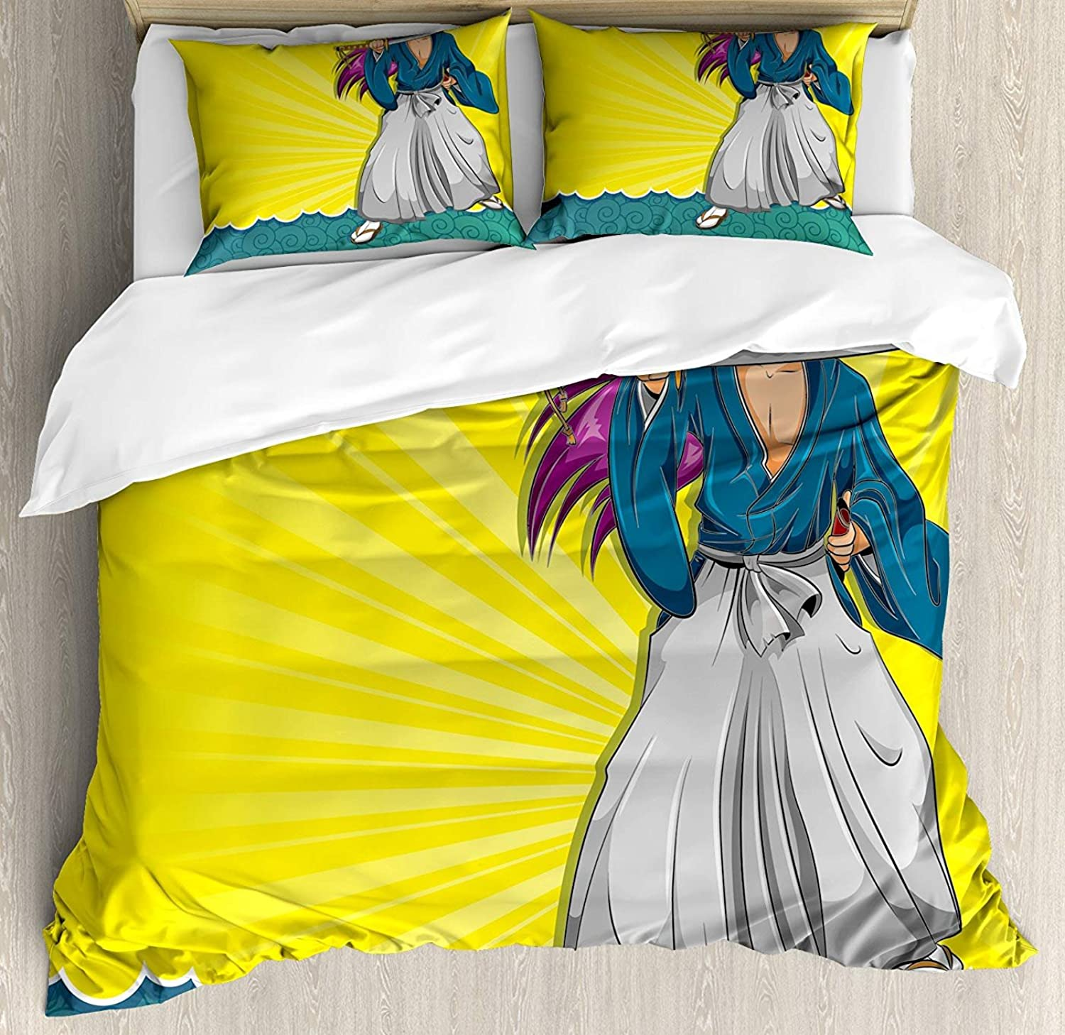Fandim Fly Anime Twin Size Bedding Set, Manga Style Girl Samurai Warrior Character on Abstract Background in Yellow and bluee,Comforter Cover Sets for All Season, Multicolor