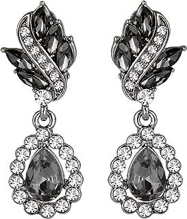 Women's Austrian Crystal Art Deco Tear Drop Dangle Earrings Clip-on