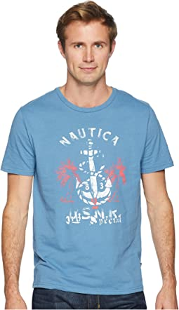 Anchor Palm Tree Print Crew T-Shirt