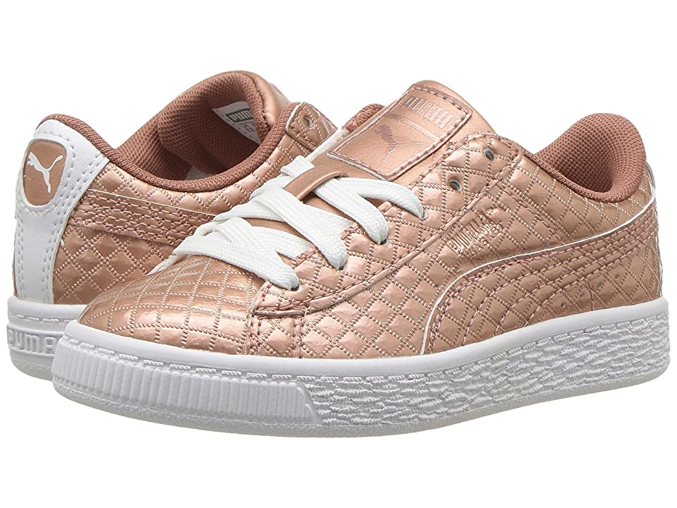 Puma Kids Basket Metallic Emboss PS (Little Kid/Big Kid) (Copper Rose/Puma White) Kid