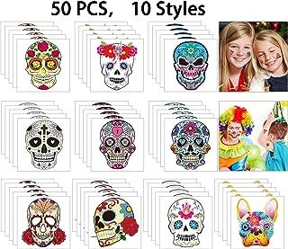Hartop Halloween Temporary Tattoos Day of The Dead Sugar Skull Tattoo Sticker Black Skeleton Web Red Roses Tattoo, Party Favor Supplies (50 PCS, Set 2)