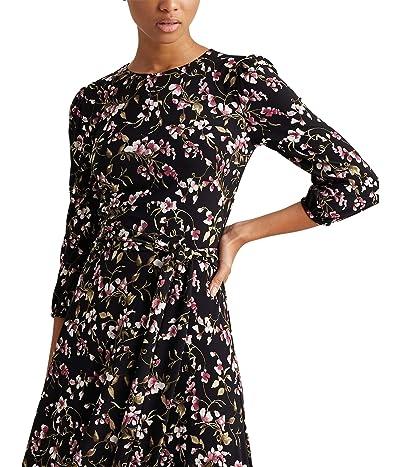 LAUREN Ralph Lauren Felia with Sleeves Dress (Black/Pink/Multi) Women