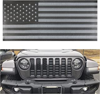 Hooke Road Bright Black Mesh Grille Inserts Front Grill Bug Screen Deflector for 2018 2019 Jeep Wrangler JL Sport//Sport S