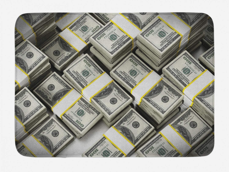 Regular store Lunarable Money Bath 5 popular Mat Illustration Bill Lots of Dollar Stack