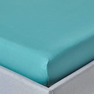 Homescapes Drap Housse 140 x 190 cm en 100% Coton égyptien 200 Fils Densité 80 Fils/cm² Coloris Sarcelle Bonnet 25 cm