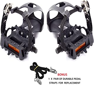 AbraFit 9/16-Inch Premium Quality Bicycle Pedals with Toe Clips and Straps,Comes with One Extra Pair of Straps for Replacement