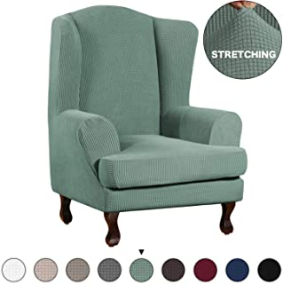 Turquoize Stretch Sofa Slipcover Sofa Cover Furniture Protector for Wingback Chair Cover 2 Piece Chair Slipcover Featuring Streth Jacquard Fabric with Elastic Bottom Anti-Slip Foam (Wing Chair, Cyan)