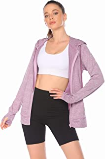 ELESOL Women's Lightweight, Full Zip Running Track Jacket Stretch Hoodie for Women Yoga Hoodie Mauve,L