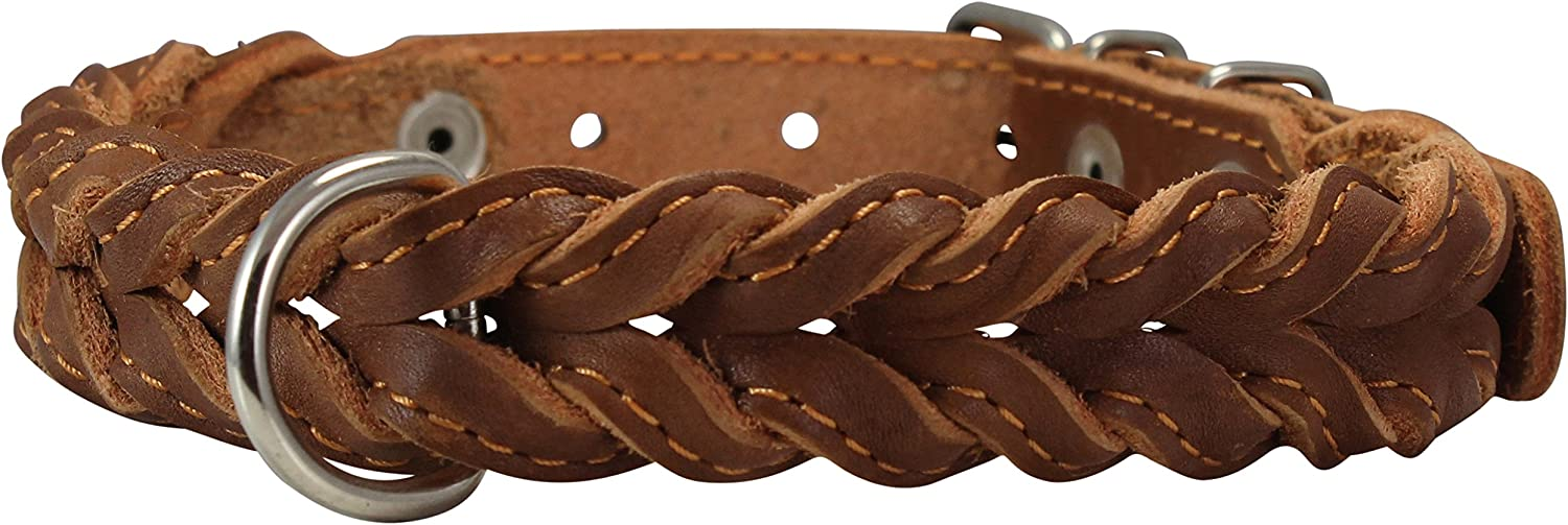 Genuine Leather Braided Dog Collar 17 21  Neck, 1  Wide, Brown