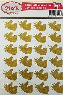 Glitter Gold Unicorn Stickers | Unicorn Theme Party Decoration | Invitation Envelope Seal (Gold) 48 Unicorn Head Stickers Decals