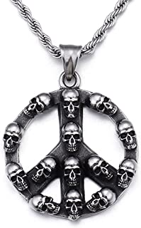 HAQUIL Punk Jewelry Peace Sign Stainless Steel Skull Necklace for Men for Women