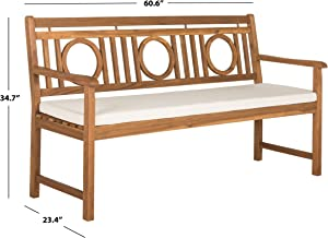Safavieh PAT6736A Outdoor Collection Montclair 3 Seat Bench, Natural/Beige