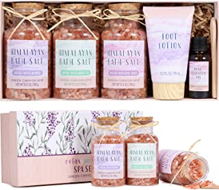 Mother's Day Gift Pink Himalayan Bath Salt Gift Set with Rose Essential Oil & Moisturize Foot Lotion, Body & Foot Soak for Cleanse, Revitalize and Soothes Skin, Unique Relaxing Spa Gift for Women