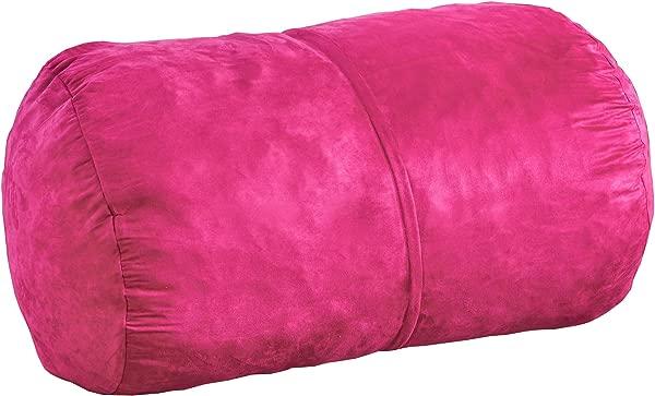 Great Deal Furniture 296773 Cassell Fuchsia Pink Fabric 4 Foot Lounge Beanbag Chair Fuschia