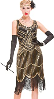 GVOICE Women's 20S Gatsby Dress - Inspired Art Deco Flapper Dress