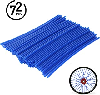 72Pcs Universal Spoke Skins Covers - Ovelur Wheel Spoke Wraps Skins Pipe Trim Decoration Protector For Motorcycle Dirt Bike Yamaha Honda Harley Suzuki(Blue)