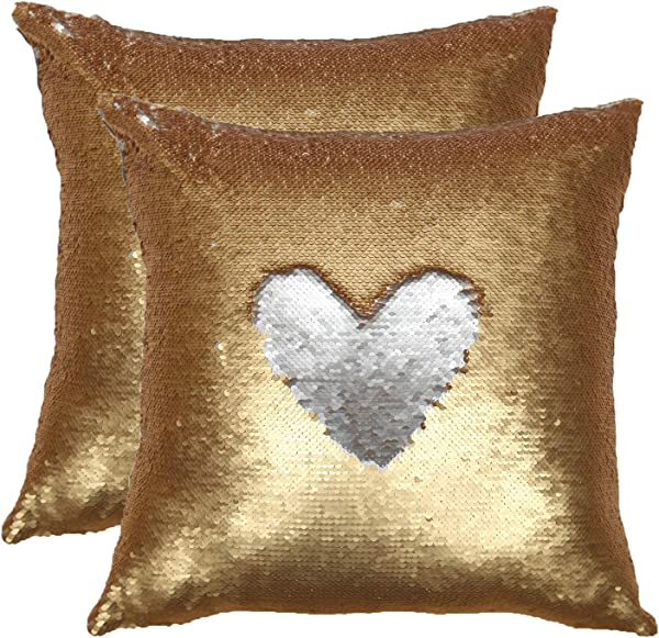 Forhom Decorative Reversible Two Colors Sequins Throw Pillow Case Cushion Cover Hidden Zipper 18 X 18 Inches 20 X 20Inches 20 X 20 Gold Silver Double