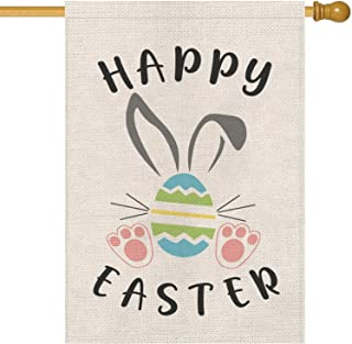 GPGHE Happy Easter Bunny Egg House Flag Double Sided Burlap Yard Outdoor Decor Spring Summer Holiday Decorations 28 x 40 Inch
