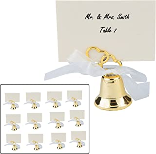 Zugar Land Gold Two Heart Wedding Bell Place Card Holders (12 Pack) Metal. (24)