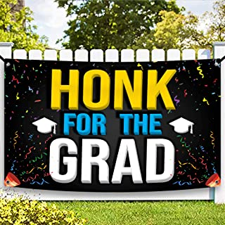 XtraLarge Honk for The Grad Graduation Banner - Graduation Decorations Blue and Gold | Congratulations Graduate for Colleg...