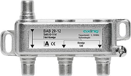 Axing BAB 20-10 - Derivador Acoplador direccional de señal TV 10 dB con Conector de F para TDT Radio CATV televisión por Cable, 2 Salidas (5-1006 MHz)