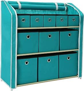 Homebi Multi-Bin Storage Shelf 11 Drawers Storage Chest Linen Organizer Closet Cabinet with Zipper Covered Foldable Fabric Bins and Sturdy Metal Shelf Frame in Turquoise,31