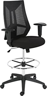 POLY & BARK Benicia Drafting Chair in Soft-Touch Fabric, Black
