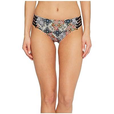 Jantzen Patchwork Tiles Strappy Side Hipster Bikini Bottom (Black) Women