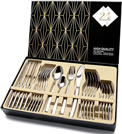 HOBO Silverware Set,24-Piece Stainless Steel Flatware Sets High-grade Mirror Polishing