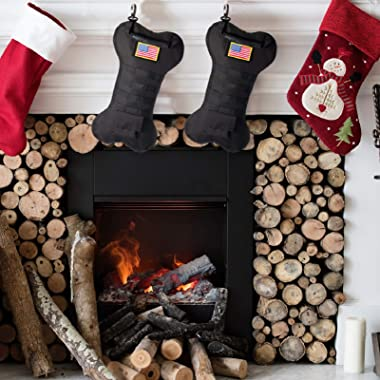 SPEED TRACK Pet Tactical Christmas Stockings, Dog Bone Xmas Stocking with Handle, Perfect Mantel Decoration, Gift for Veteran