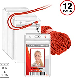 MIFFLIN Lanyard with Vertical ID Holder (Red Non-Breakaway Cord, 3.5x2.25 Inch Card Holder, 12 Pack)