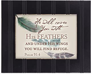 You Will Find Refuge Psalm 91:4 Feather 8x10 Black Framed Art Wall Plaque Sign