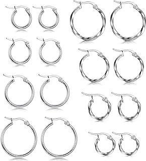 HANPABUM Juego de 8 pares de pendientes de aro redondos de acero inoxidable para mujer, de tono plateado trenzado, 10 mm, ...