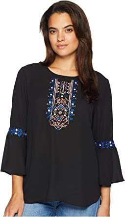 Long Sleeve Embroidered Top with Open Hem